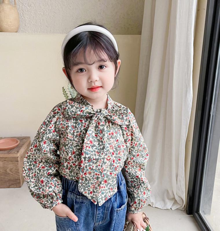 Children Chemise à imprimé floral Filles à lacets Filles Bows à manches longues Chemises Enfants Coton Princesse Tops A6193