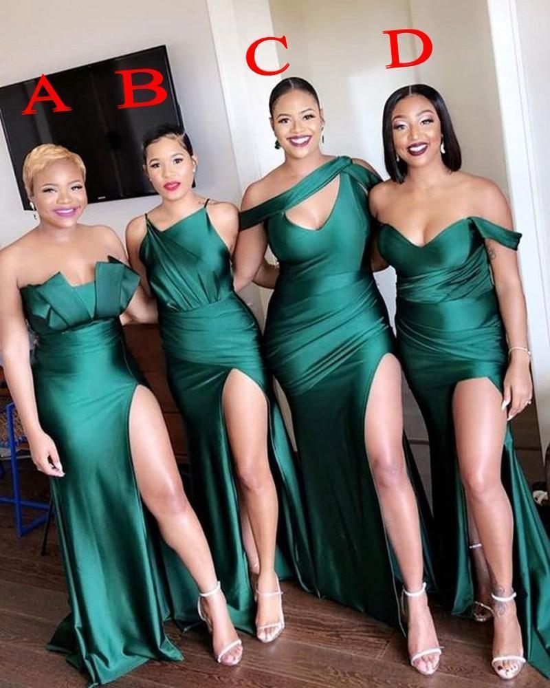 Elegante Hülle Brilliant Green Brautjungfer Dressin Mischtilen aus Schulter bodenlangen mit Split sexy Mädchen der Ehrenkleider formale Kleider