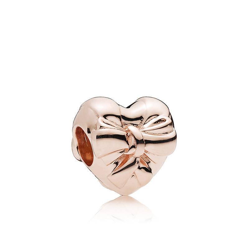 Cuore di colore oro rosa con bowknot lega di fascino perlina moda donne gioielli stile europeo sbalorditivo adatto per la collana del braccialetto di Pan fai da te panza005-14
