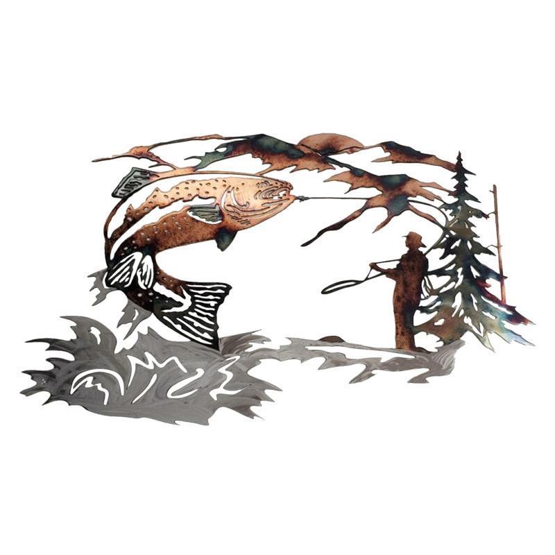 Декоративные объекты фигурки сольные кряквы охотничьи форель рыбалка сцена металлическая стена искусства формы животных наклейки повесить яркое украшение для домашней победы