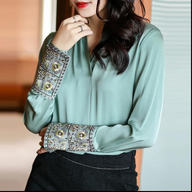 Kadın Gömlek Bahar Güz Bayan Nakış Uzun Kollu Siyah Beyaz Yeşil İmitasyon İpek Bluz Üst Gömlek Rahat Tops ve Bluzlar