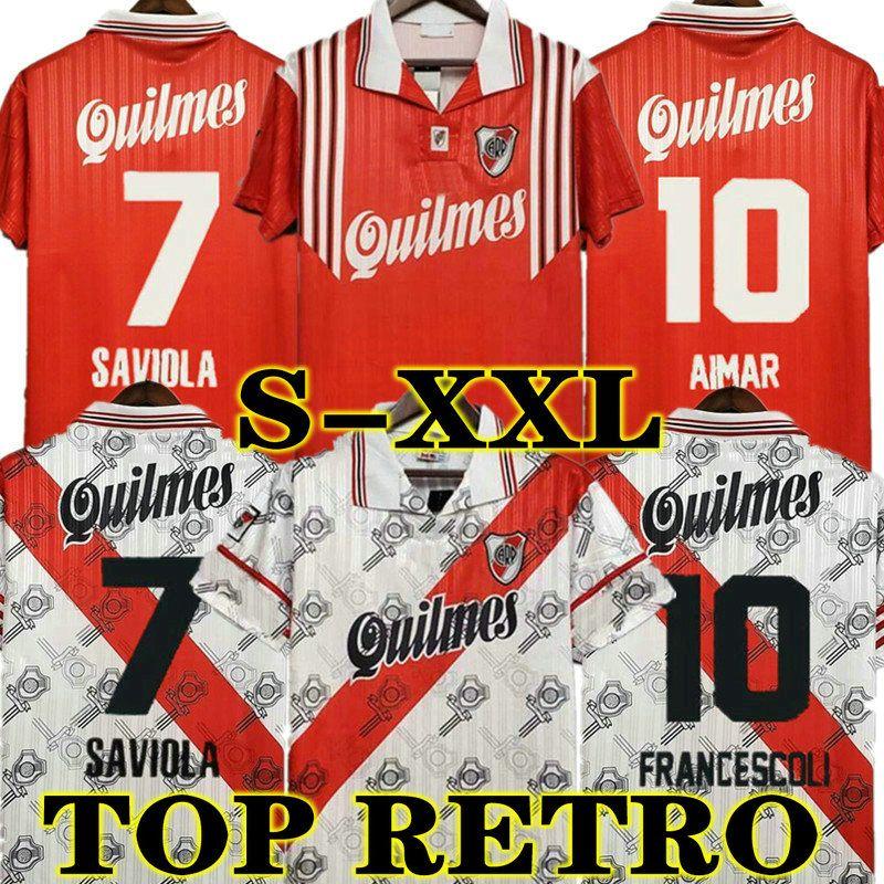 Francescoli River Plate 1995 1996 Retro Soccer Jerseys 95 96 Caniggia Salas Crespo D.Trezeguet Vintage Fußball Camiseta Klassische Hemden