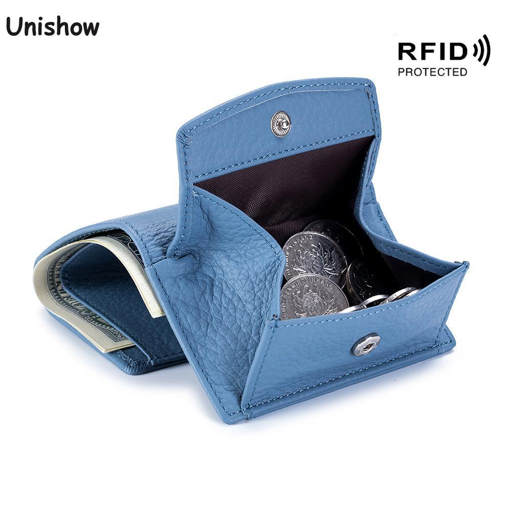 BLOCKING Echtes Leder Frauen Brieftasche Münze Geldbörse Marke Designer Weibliche Leder Brieftasche Mini Frauen Geldbörse Münztasche