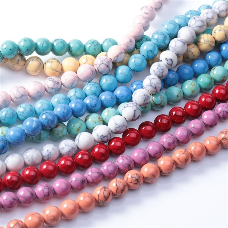 Natural laranja rosa colorido pedra 4/6/8/10 / 12mm contas redondas para jóias fazendo bracelete DIY colar jóias de 15 polegadas 1694 Q2