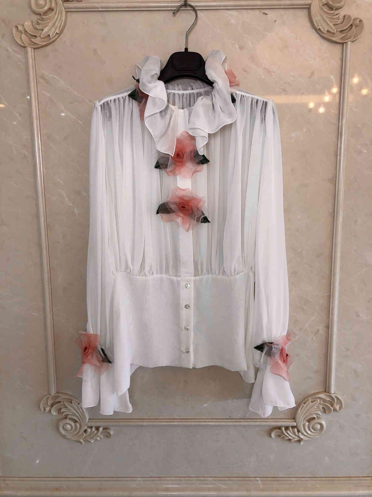 2021 جديد السيدات أزياء طويلة الأكمام مثير عارضة اليدوية زين مطرز قميص 1013