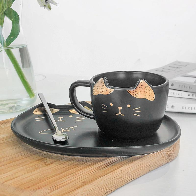 Mugs 200ML Cat Gold Ceramic Coffee Cup Dish Restaurant With Water Office Tea