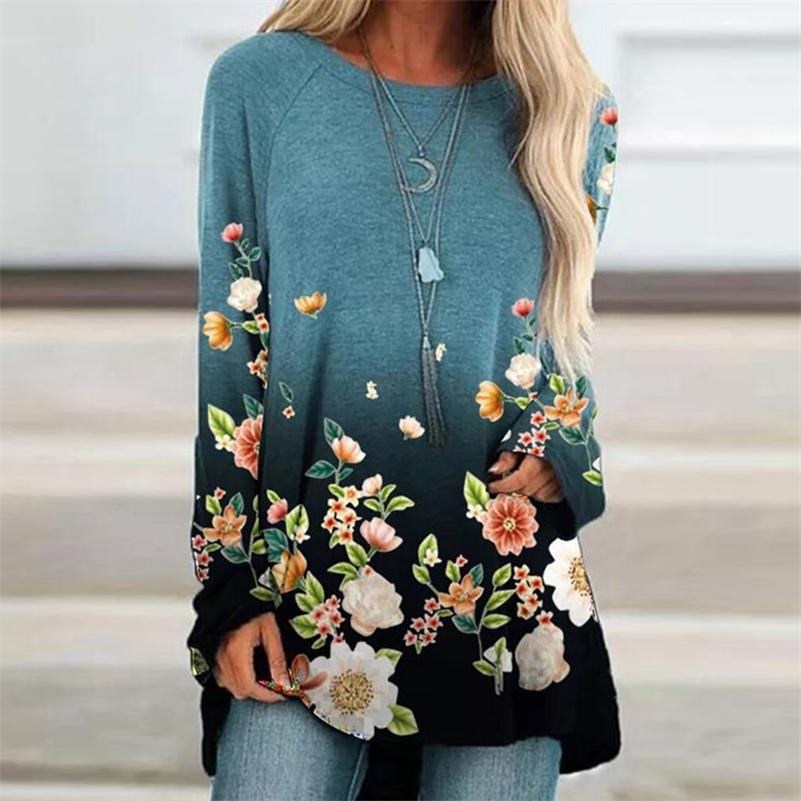 Harajuku Shirt Femmes O Cou Col Long Long Pullover Tops Automne Femmes Chemises Casual À Manches longues T-shirt Top 210317