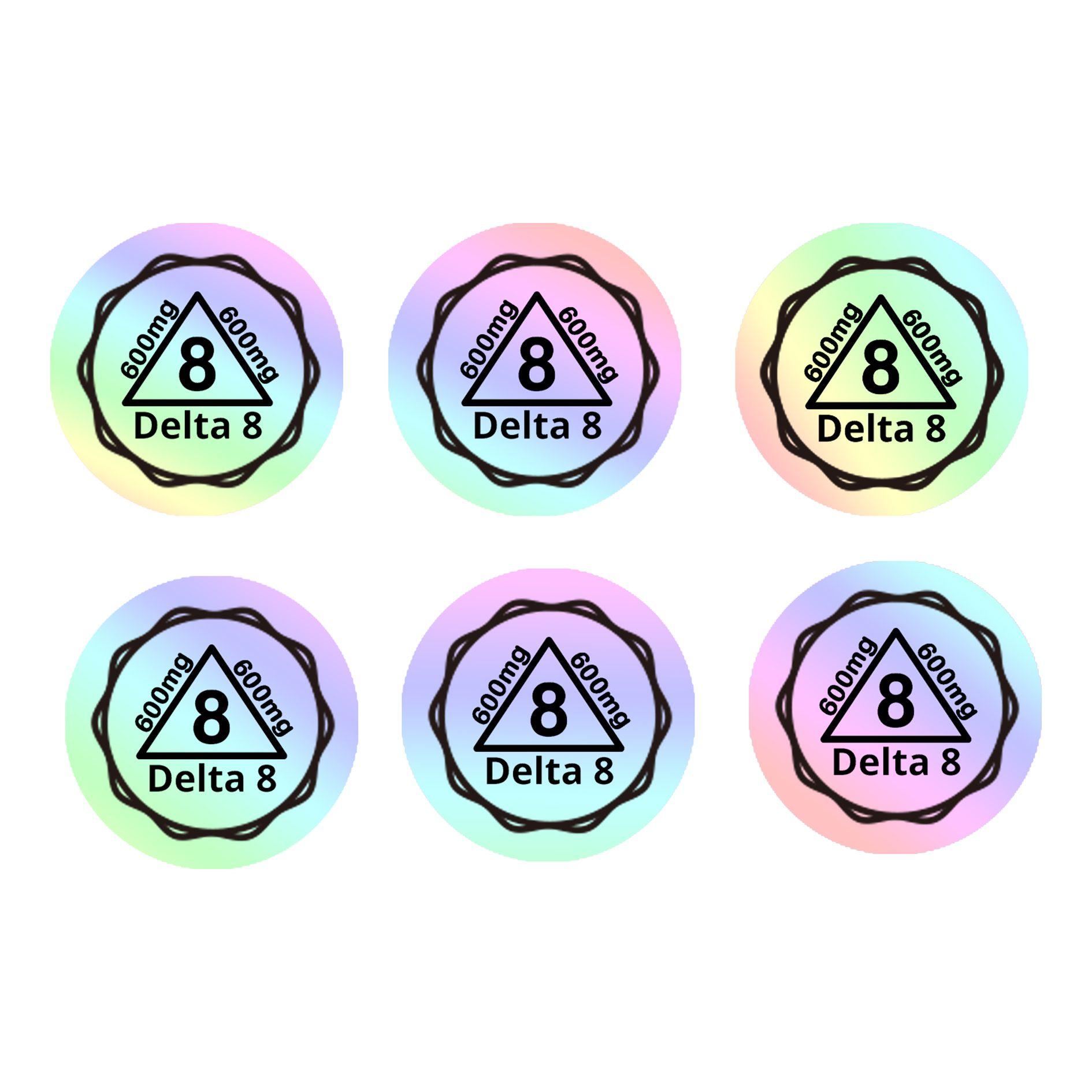 Lagerverkauf holographisch-fragiler Delta 8 Aufkleber Etiketten einfach beschädigtes Hologramm-Universum freie Designsicherheits-Etiketten