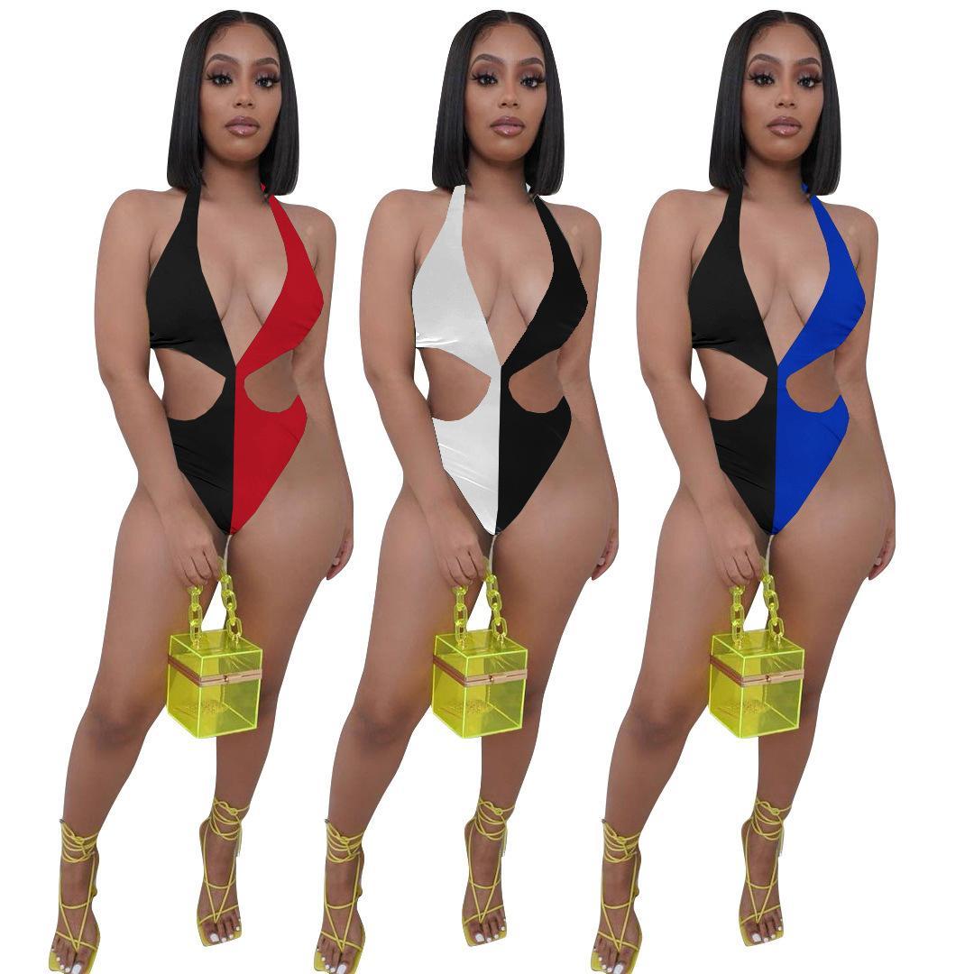 Sexy Farbe Patchwork Body Swimsuit Bikini Deep V-Ausschnitt Badebekleidung Sleeveless Sommer Strand Kleidung Outfit 210506