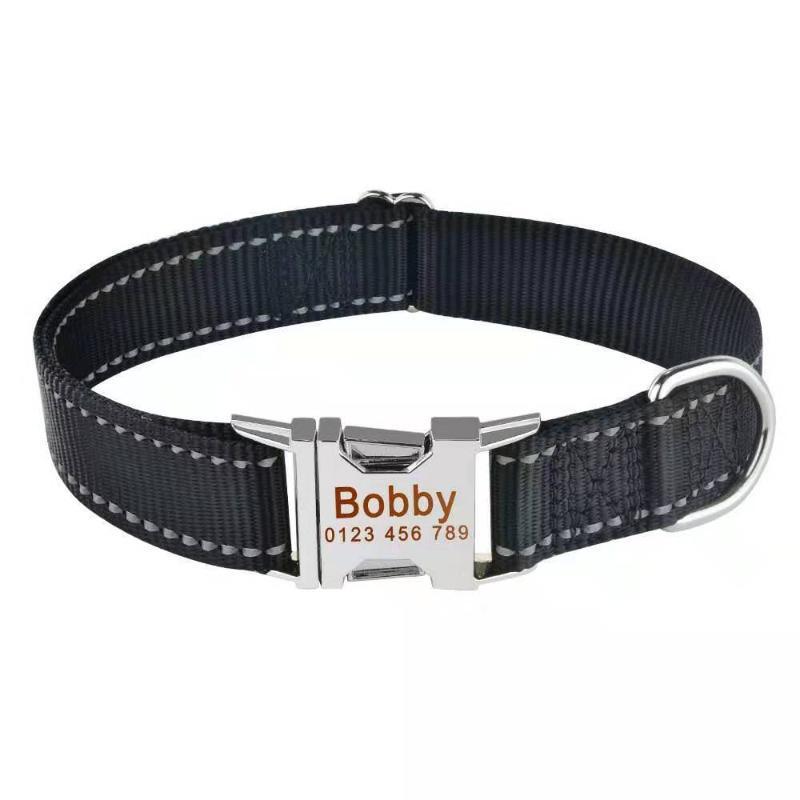 Colares Colares Coleiras de Nylon Collar Personalizado Pet Gravado ID Tag Nomeplate Reflexivo para Pequenos Cães Grandes Médios Pitbull Pug Cat