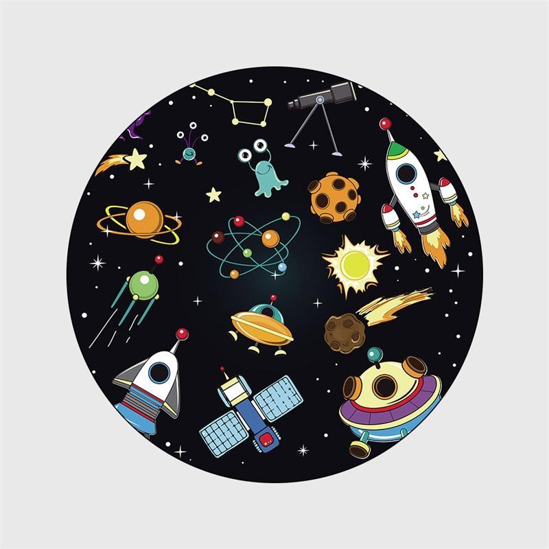 Cartoon Kids Round Carpet Space Planet Spaceship Tapete Living Room Non-Slip Floor Mat Bedroom Children Play Game Tent Area Rugs 734 R2