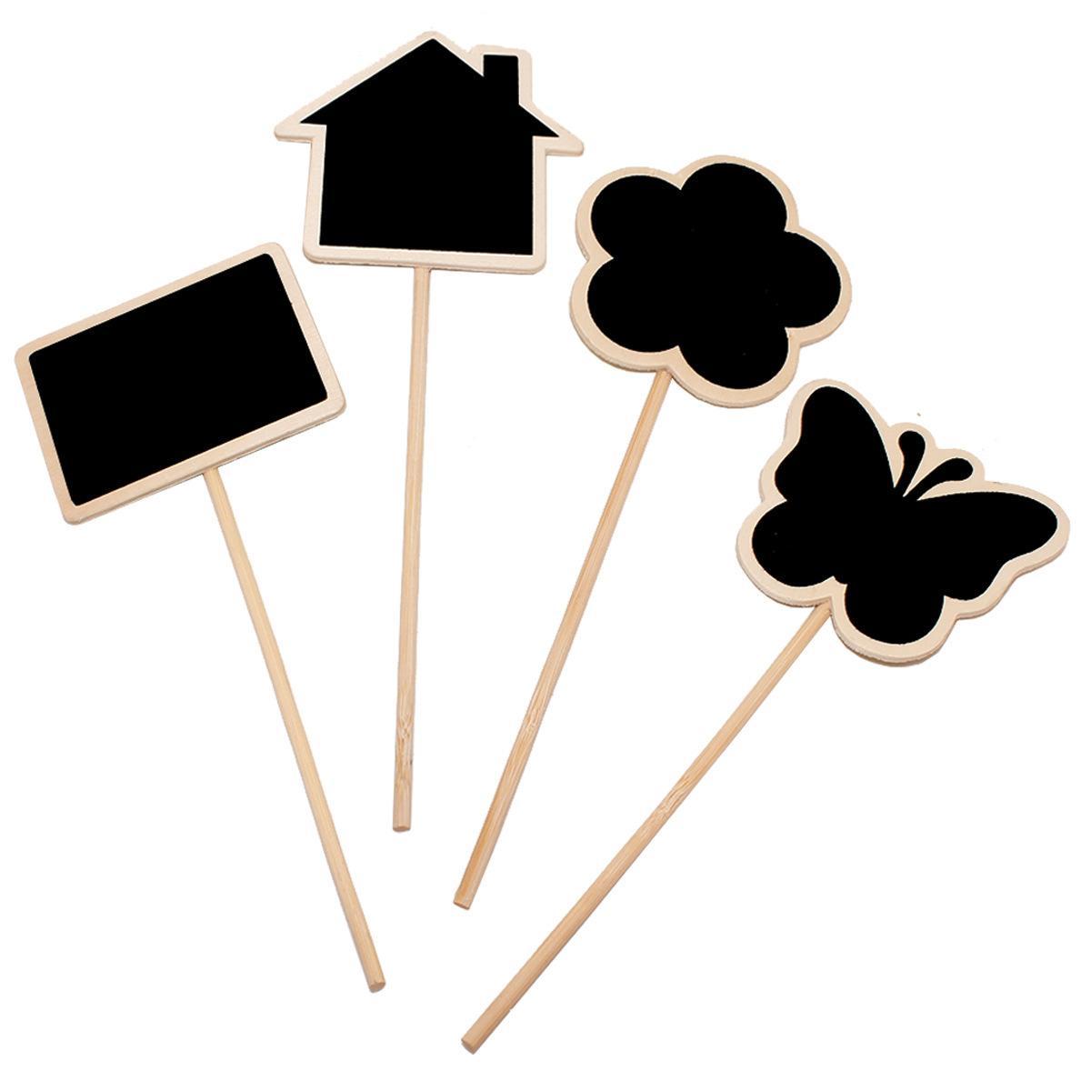 Etiquetas de la planta Marcador Forma linda Inserción de la tarjeta Mini Blackboard Woodiness Arts and Crafts Originalidad Dominio de la casa Flor de mariposa 0 54by D2 YZ90
