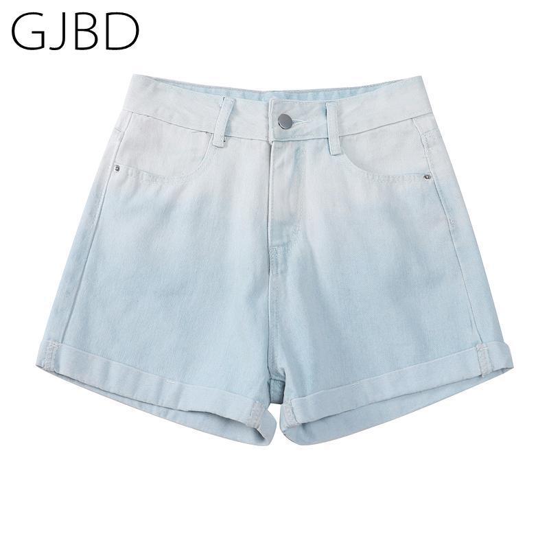 Calças de calça jeans curtas de cintura alta 2021 verão tendência gradiente cor calças de cor harajuku y2k moda menina estudante denim calças