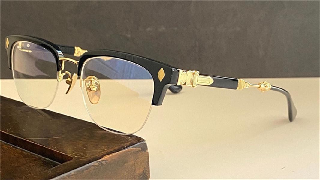 POP Retro Erkekler Optik Gözlük Eva Punk Stil Tasarım Kare Half-Frame Deri Kutusu HD Temizle Lens En Kaliteli
