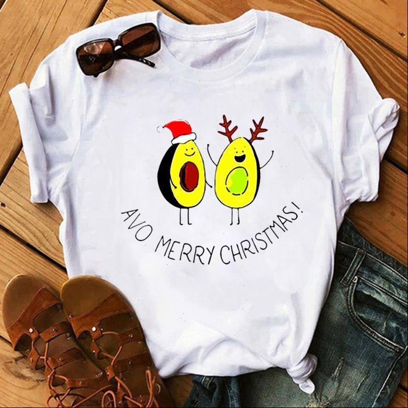 Womens T-shirt Schöne Avocado Harajuku Frauen Mode Weihnachten Gedruckt Kurzarm Weiß Geeignet Alle Jahreszeiten Tshirts