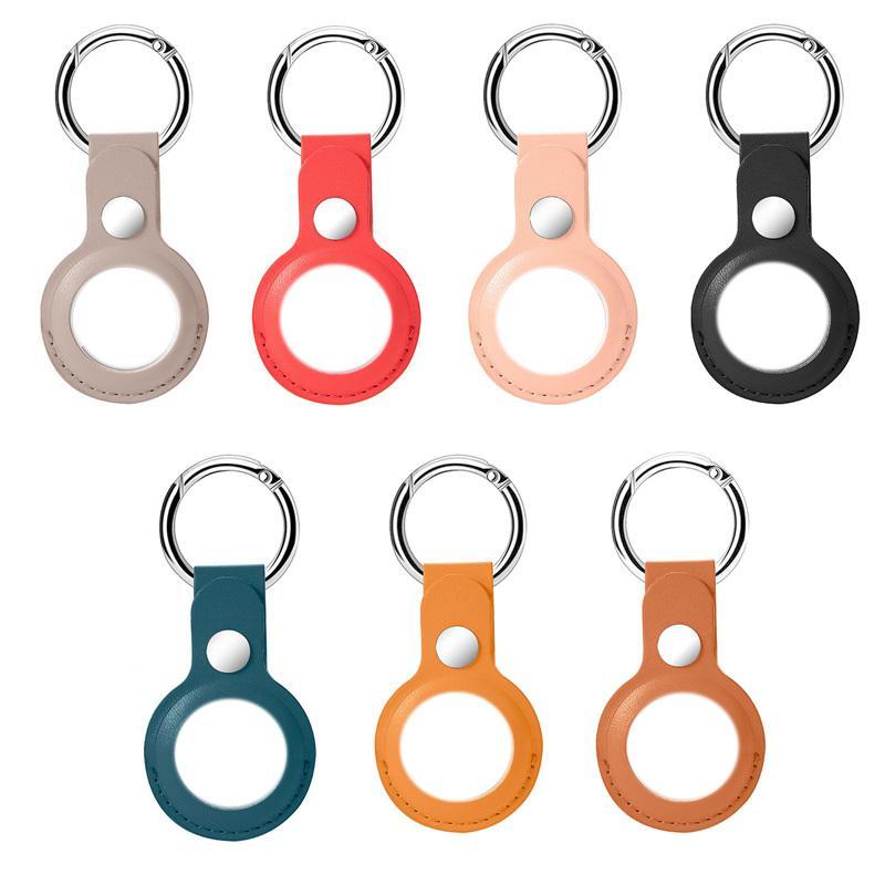 Fashion Smart Keychain in pelle PU in pelle braccialetto Caso protettivo Aria Tag Anti-Fall Anti-Scratch Accessori Protezione Coperchio coperchio Shell Sleeve per Airtags Locator Tracker