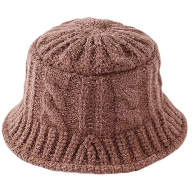 Женщины зимний коренастый кабель вязаный ковш шляпа сплошной цвет твист полоса рыболова крышка H7EF широкие Breim Hats