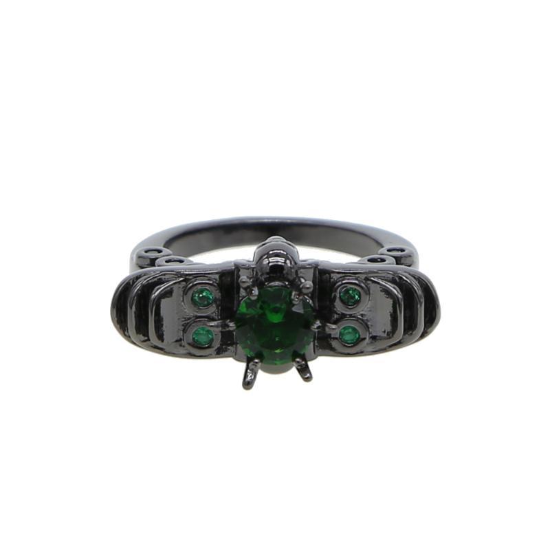 Обручальные кольца шарм многоцветные сердца циркона зеленый CZ для женщин Винтаж мода черное золото заполнено кольцо рождаемости полного размера элегантный