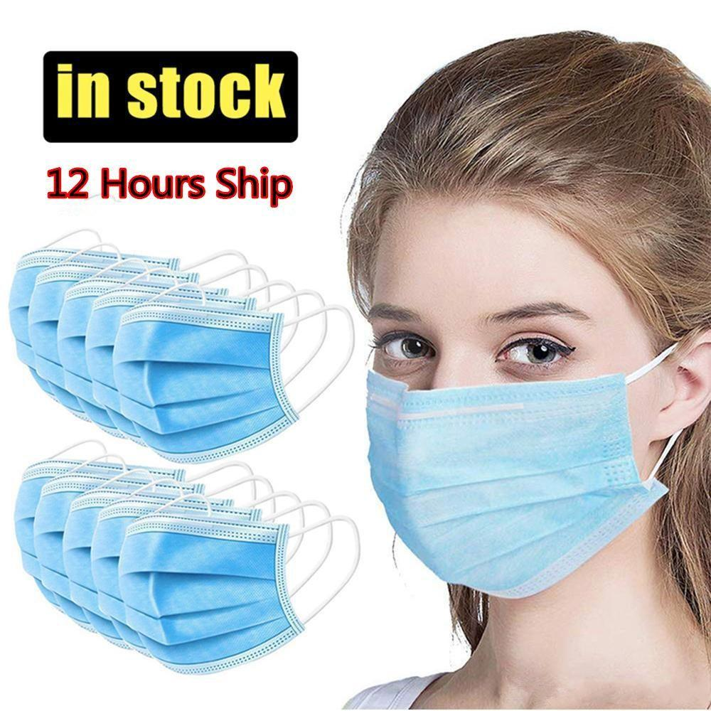 Venda por atacado de máscaras faciais descartáveis venda direta de fábrica de fábrica 3-ply não tecidos máscara de boca respirável preto rosa branco cores azuis com laço de orelha elástica para adultos