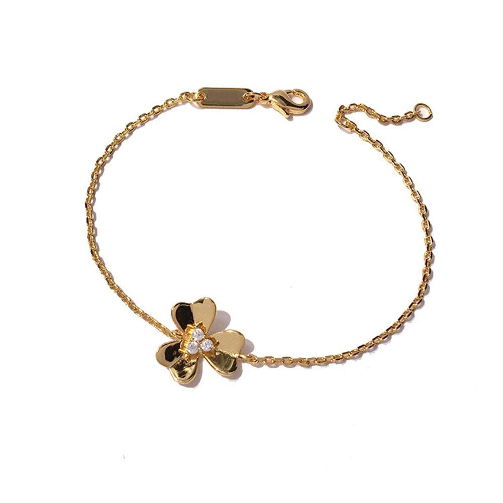 2021 Fashion Classic Diamond Four Leaf Clover Flown Flowers Link Cristalli Clavice Catena Braccialetto 18 carati in oro argento per Van Womengirls Wedding San Valentino regalo gioielli