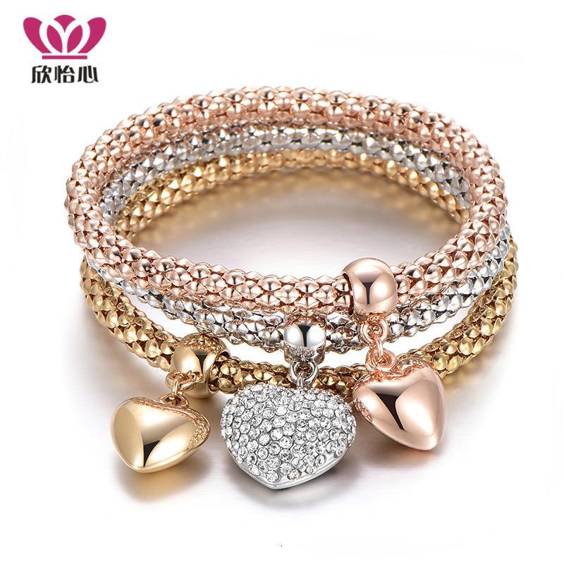 Encanto pulseras aleación elastic diamante amor colgante tres colores de cadena de maíz conjunto durazno corazón joyería