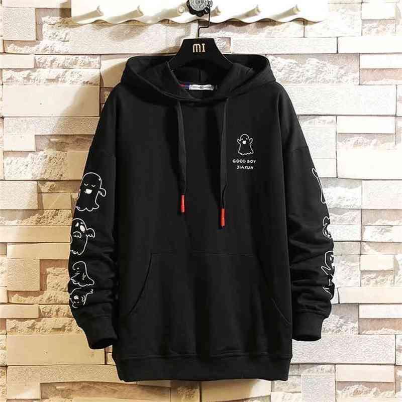 Automne printemps mode noir Sweat-shirt Hip hip hop hip hoodover sweat à capuche à capuche de sweat-shirt 210728
