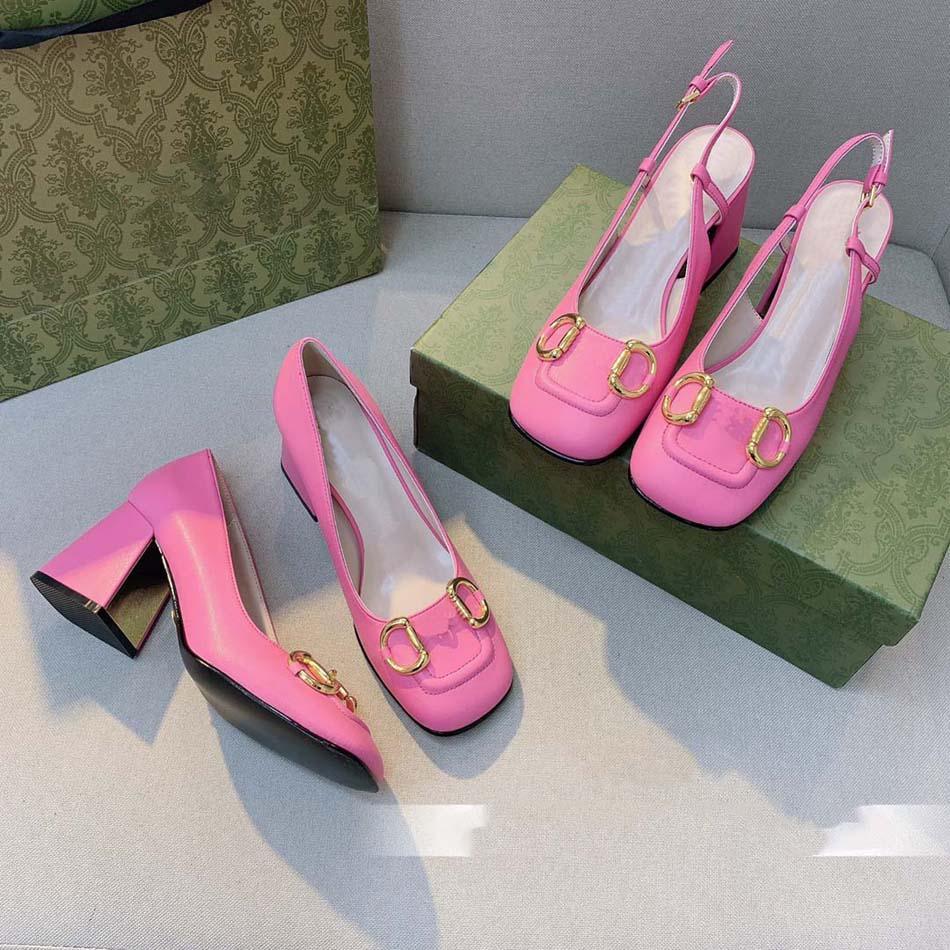 Top Quality heels Women Shoes buckle Sandals square toes Designer Heel Wedding Sandal With Original Box 03