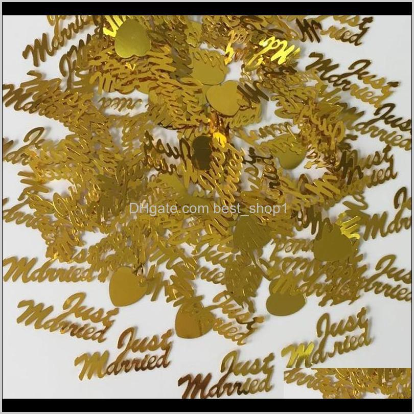 150g Oro Simplemente AMOR del corazón Confetti Fiesta de bodas Mesa de lámina Disposiciones Aniversario Aniversario Espolvoree Decoraciones E3VDX Banner Banderas TBSA3
