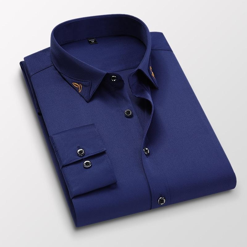 Мужские бизнес-платья рубашки мужской с длинным рукавом Slim Fit Business Формальные рубашки мода стиль бренда мужчины повседневные рубашки мужские одежда 210322