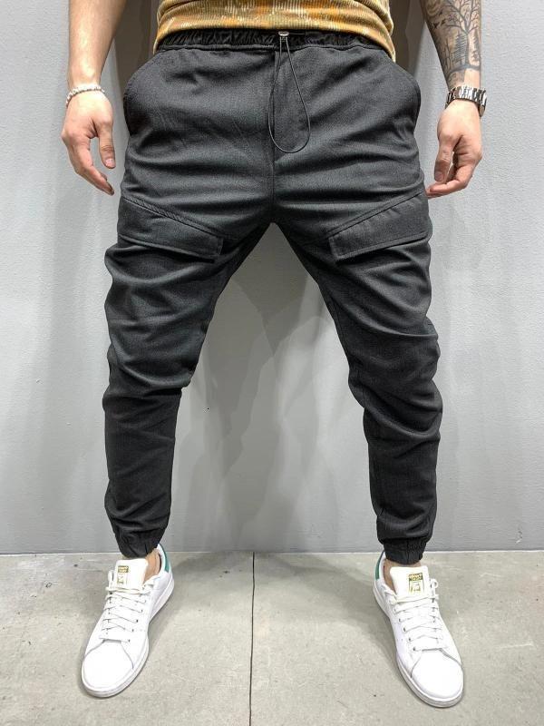 Pantalones para hombres 2020 nuevos holguras para hombre Hombre Tobillo Pantalones de bandas Jogger Pantalones tejidos Carga Estilo casual