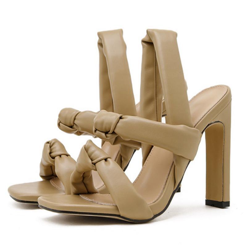 Frauen Schuhe Rom PU Gestreifte Zapatos de Mujer Punk Schmalband Feste High Heels Hochzeit Damen Sandalen Neue Sommer 42 210423