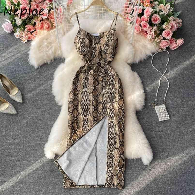 Leopardo sexy Imprimir sem mangas camis vestido mulheres cintura alta quadril uma linha longa vestidos vestidos de verão split 210521