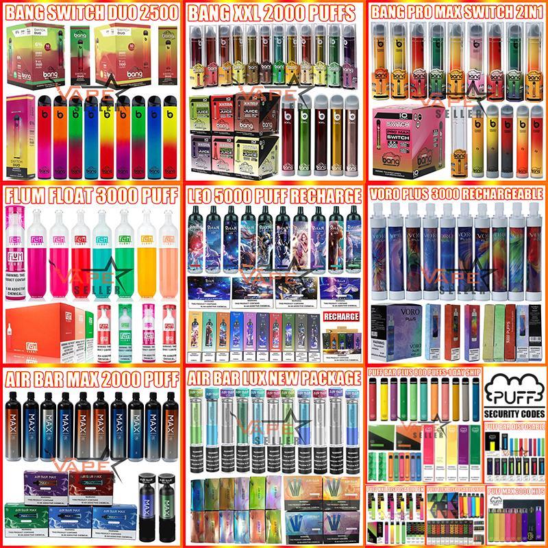 일회용 vape 펜 전자 담배 Randm Leo Bang XXL Swith Duo Puff Bar Plus Max Flex Airbar Lux 800 1000 1600 2000 2500 3000 4000 5000 Puffs 재충전 vapes 키트