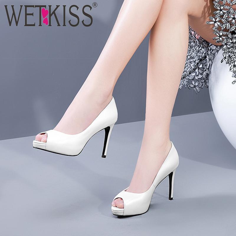 Yüksek Topuklu Pompalar Kadın Peep Toe Ayakkabı Inek Deri Platformu Ayakkabı Kadın Sığ Parti Kadın Bahar 2021 Elbise