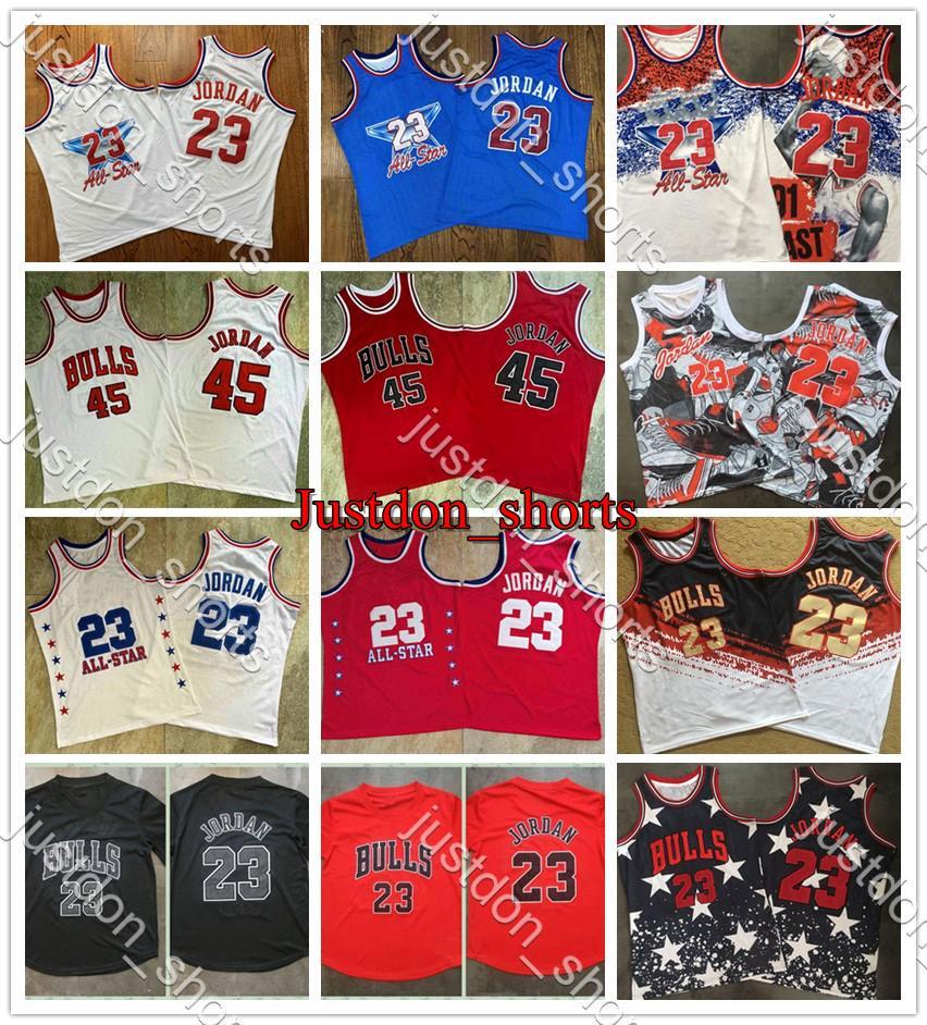 Мужская ретро дань памяти 23 Независимость 45 Вышивка красный синий Митчелл Несс лиственных породКлассики Баскетбольные майки Рубашки