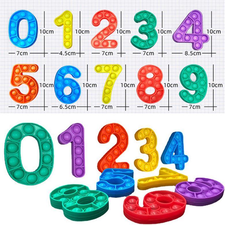 번호 0-9 푸시 버블 자폐증 새로운 Fidgets 장난감 방지 스트레스 부드러운 감각 선물 재사용 가능한 스퀴즈 장난감 스트레스 릴리버 보드