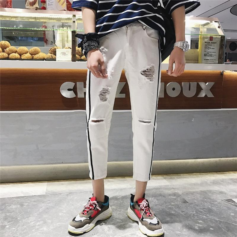 Men's Pants Hole Jeans Loose Student Trousers Summer Black White Long