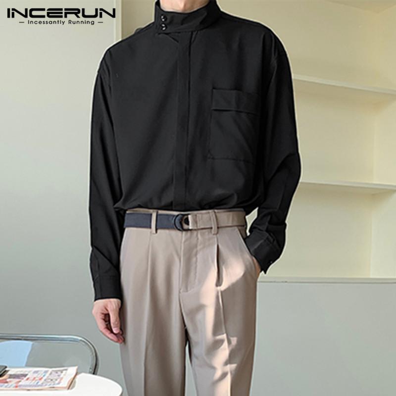 긴 소매 솔리드 컬러 블라우스 망 패션 스탠드 칼라 셔츠 남성 캐주얼 포켓 한국어 스타일 느슨한 Camisa 개미 5XL 남자