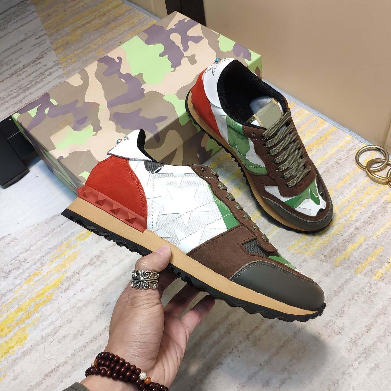Hombres Camuflaje Sneaker Zapatillas Casual Zapatos Classic Show Style Remache Studded Studded Malla plana Suede Cuero grande 35-46