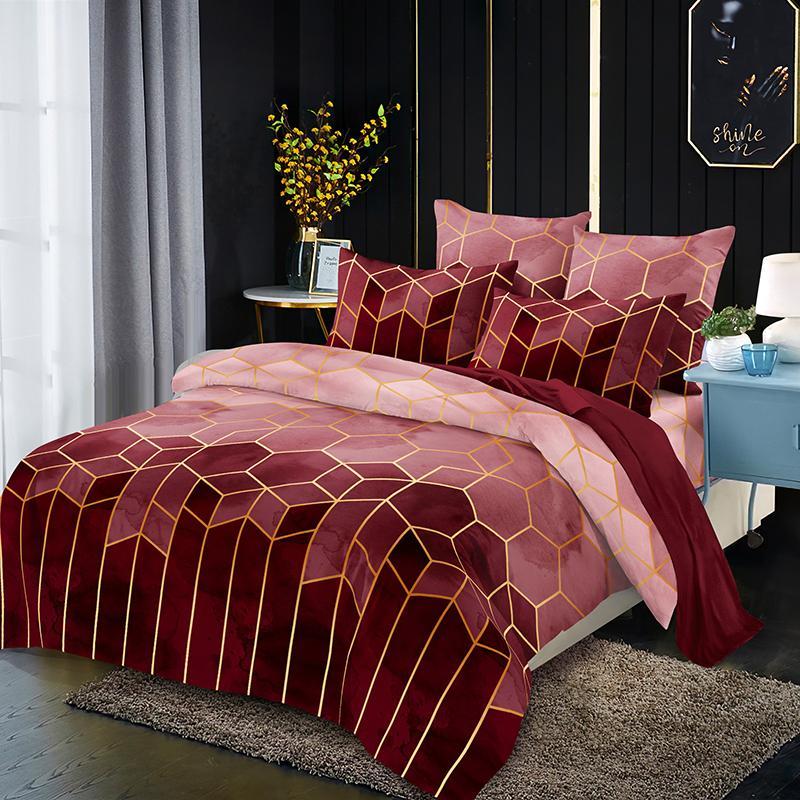 패션 기하학 체크 무늬 침구 세트 베개가있는 침대 시트 2/3 PC 골든 라인 이불 커버 세트 더블 퀸 킹 이불 커버