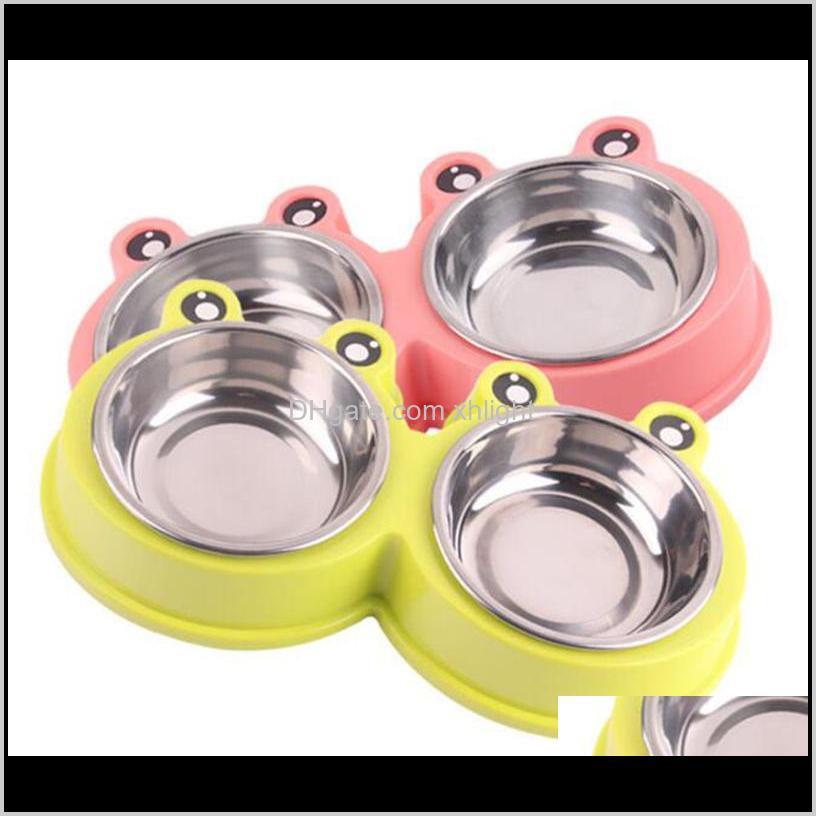 Malzemeleri Ev Bahçe Bırak Teslimat 2021 Pet Su Gıda Kedi Köpek Karikatür Besleyiciler Paslanmaz Çelik Açık Seyahat Besleme Kaseler MV4XX