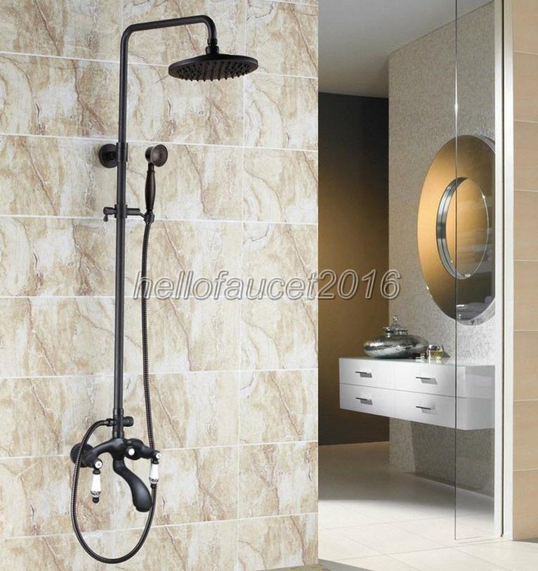 Mélangeur de douche de salle de bain en laiton frotté de la salle de bain de pluie de la salle de bain de pluie de robinet de robinet de robinets de baignoire muraux muraux muraux