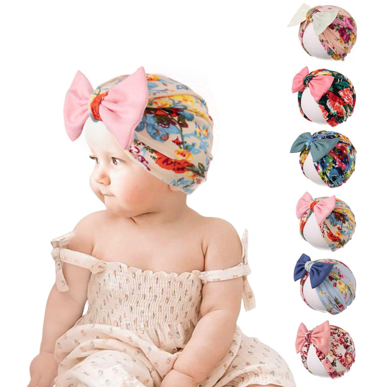Baby Turban Cap Indiens Hutdruck Kopfband Bow Knoten Stirnbänder Weiche Baumwolle HeadWrappen Dehnbare Haarbänder Kinder Mädchen Mode Haare Zubehör WMQ1247