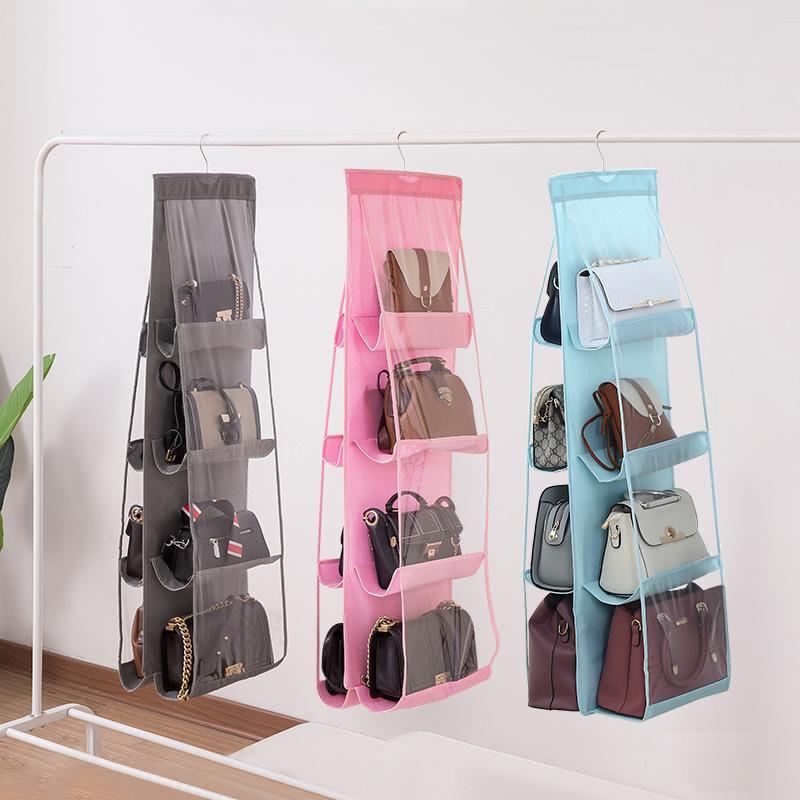 6/8 Pocket Folding Hanging Handbag Purse Storage Large Clear Holder Anti-dust Organizer Rack Hook Hanger1 715 V2