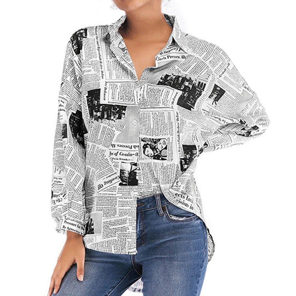 Blusa Camisa Mujer Chemisier Casual Blusa Elegante Carta Moda Botón Botón Cardigan Tops Camisa Femme 2020 NUEVO X0521