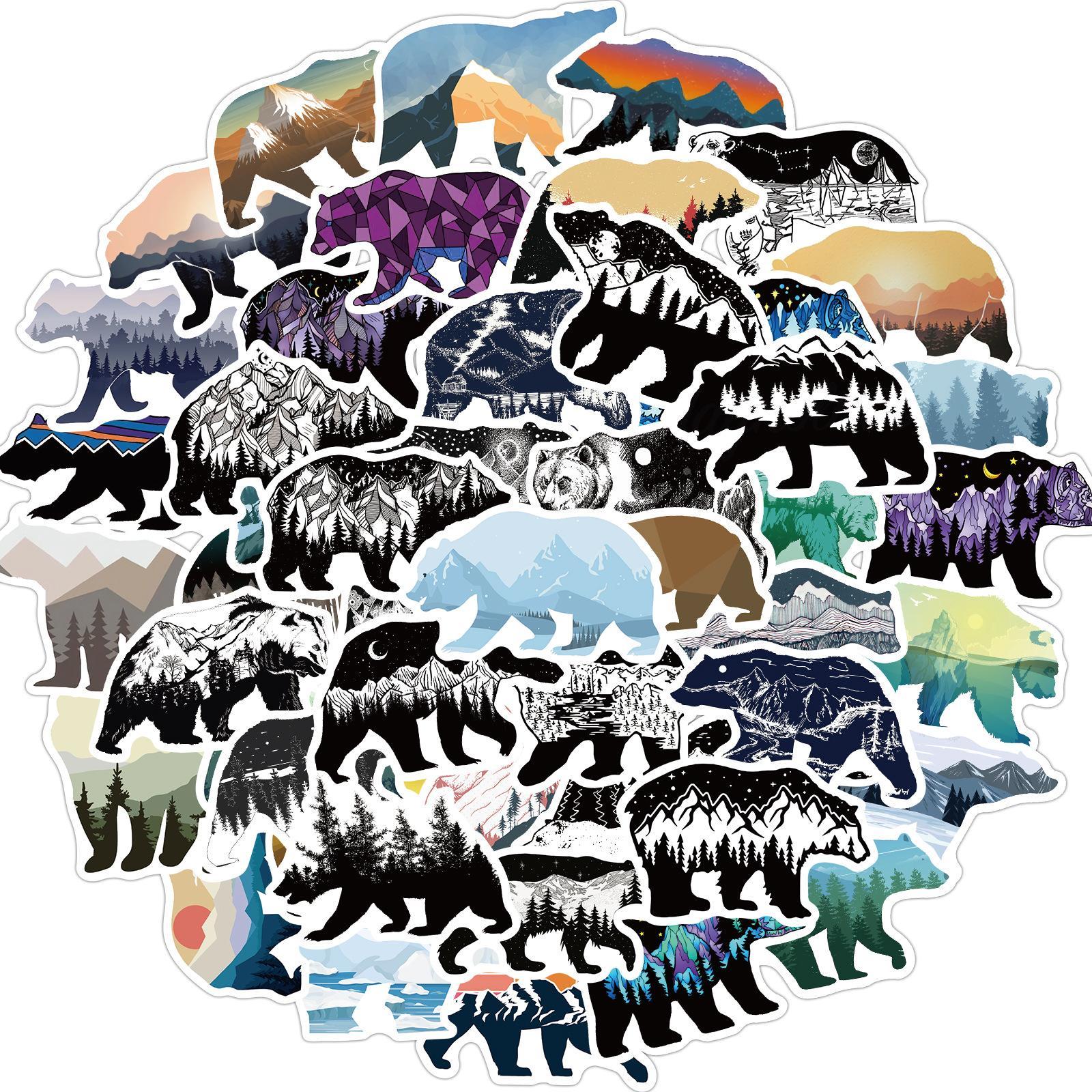 50 unids montaña y oso animales pegatinas sin aleatorias bicicleta de equipaje pegatina portátil monopatín motor botella de agua snowboard wall decale regalos para niños