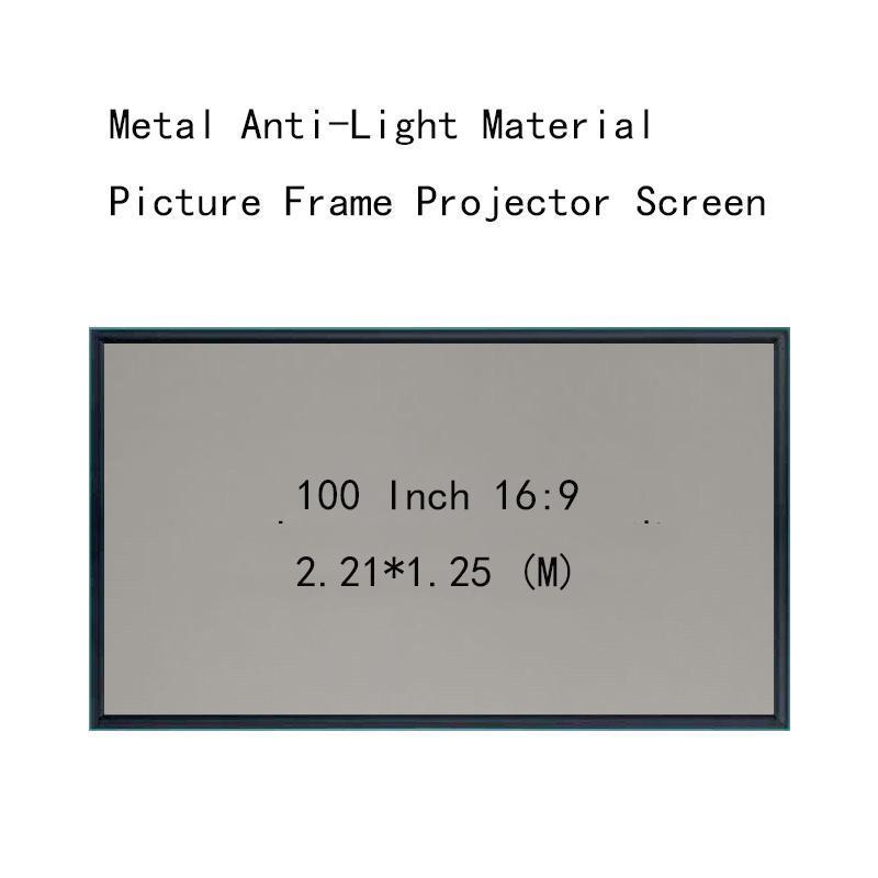 Écrans de projection Minicyou mur monté 100 pouces 16: 9 Matériau de l'image en métal Anti-Light Matière 4,5 cm HD Écran de projecteur