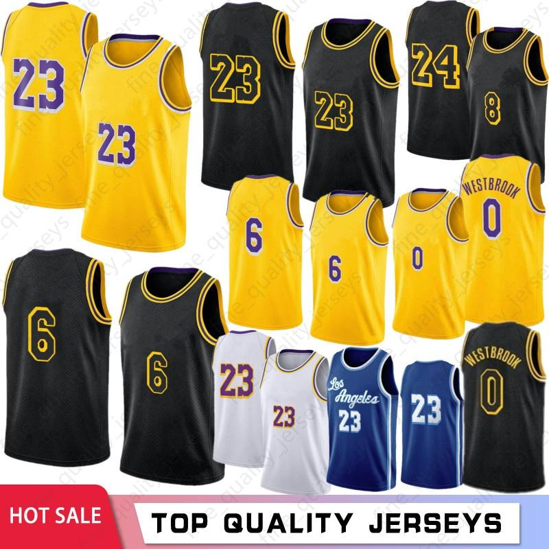 """LeBron 23 6 James Homens Basquete Jerseys Russell 0 Westbrook Los """"Angeles"""" Lakers """"Bryant Kids Anthony 3 Davis Kyle 4 Caruso Verde 34 8 32 Retro Jersey 2021"""