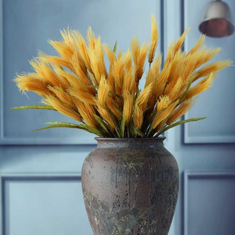 Fleurs décoratives couronnes 1pc blé en plastique fausse plante fleur branche pour accessoires à la maison Arrangement floral Accessoires de mariage Partie murale décoratio