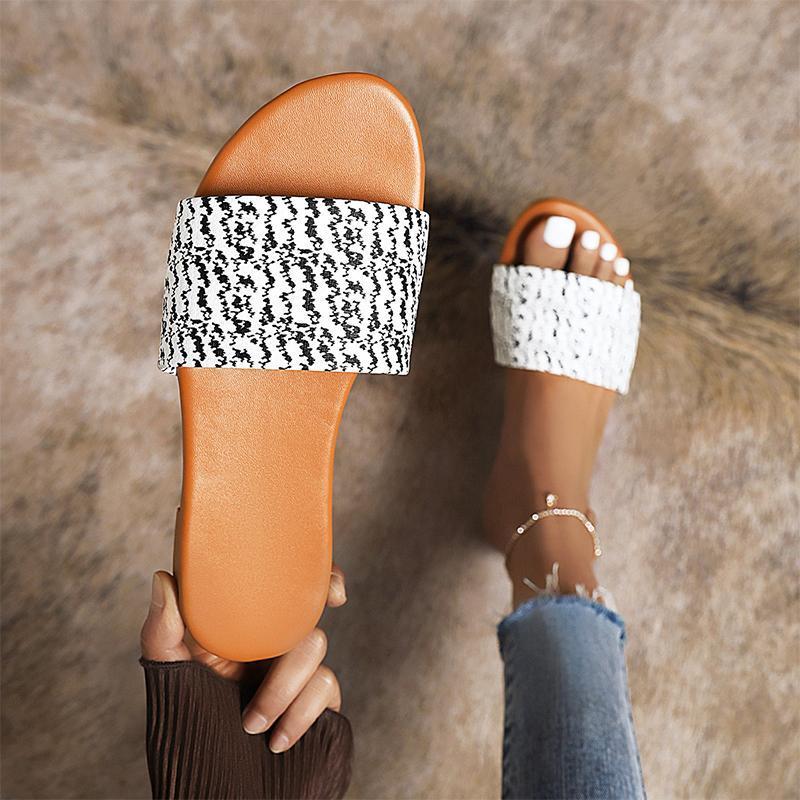 Terlik Kadın Baskı Karışık Renk Yaz Kadın Rahat Slaytlar Bayanlar Konfor Eğlence Ayakkabı Kadın Flats Artı Boyutu Ayakkabı